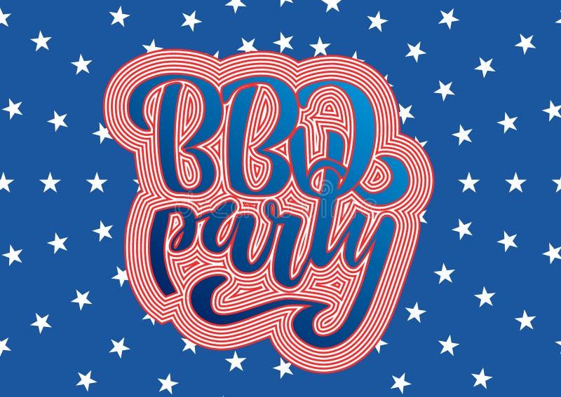 Приглашение литерности партии BBQ 4-ое июля к американскому барбекю Дня независимости со звездами украшений 4-ое июля, флагами, ф иллюстрация вектора