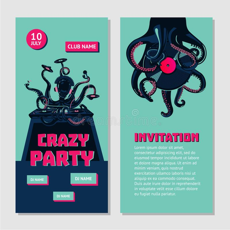 приглашение партии Бедр-хмеля двухстороннее для ночного клуба с осьминогом dj Подземное событие музыки иллюстрация вектора