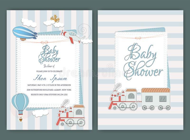 Приглашение партии ливня напечатать канцелярские принадлежности детей чешет рождение стоковое изображение rf