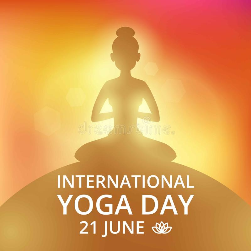 Приглашение плаката на день 21-ое июня йоги иллюстрация штока