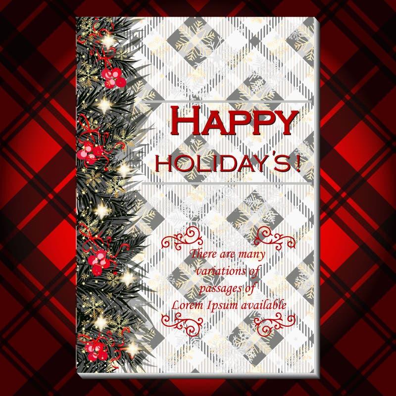 Приглашение рождественской вечеринки с гирляндой ветвей ягоды ели, сосны и падуба Красная предпосылка тартана иллюстрация вектора