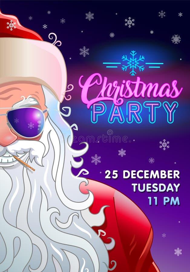 Приглашение рождественской вечеринки с крутым Санта Клаусом иллюстрация штока