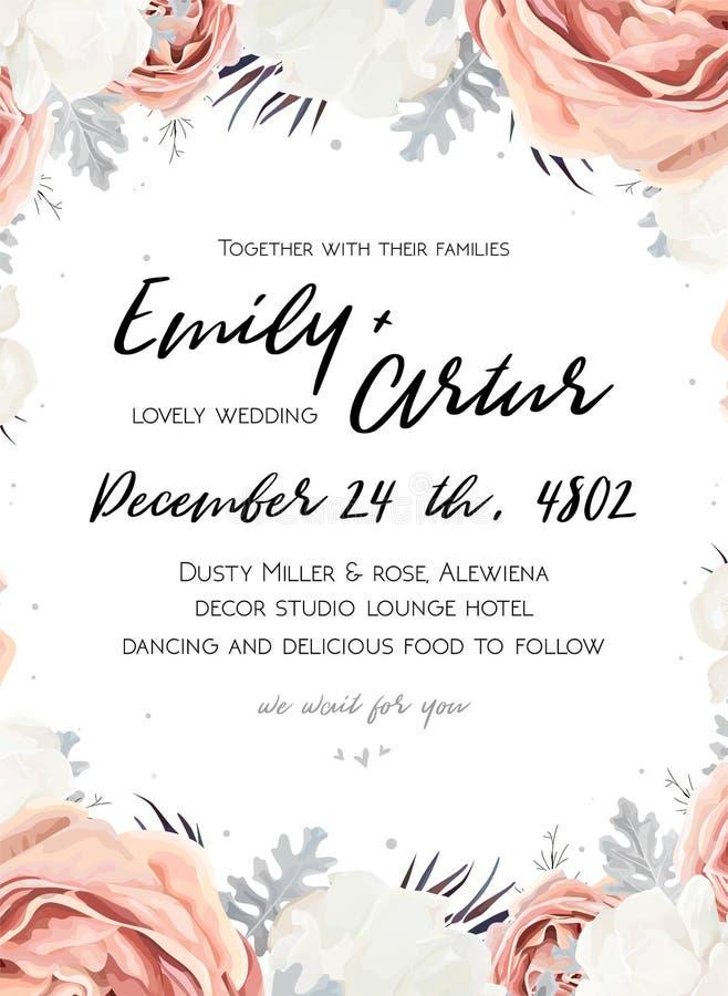 Приглашение свадьбы вектора флористическое приглашает, сохраняет desi карточки даты иллюстрация вектора