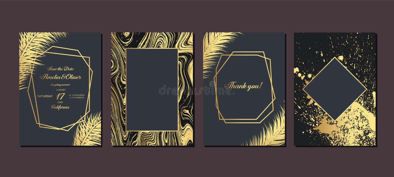 Приглашение свадьбы золота с тропическими листьями Роскошные карты приглашения свадьбы с текстурой золота мраморной и геометричес иллюстрация вектора