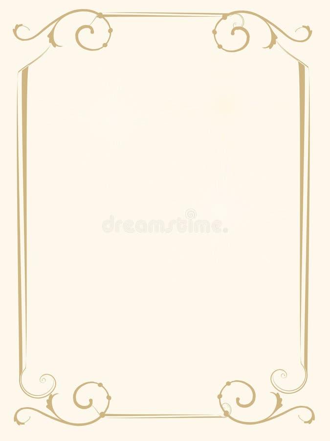 Приглашение свадьбы или рамка отчета о крышки золота почетности стоковое изображение