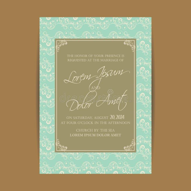 Приглашение свадьбы и сохраняет карточки даты иллюстрация вектора