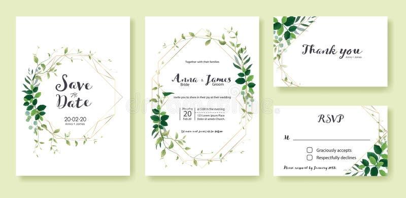 Приглашение свадьбы растительности, сохраняет дату, спасибо, шаблон дизайна карты rsvp Лист лимона, серебряный доллар, прованские иллюстрация вектора