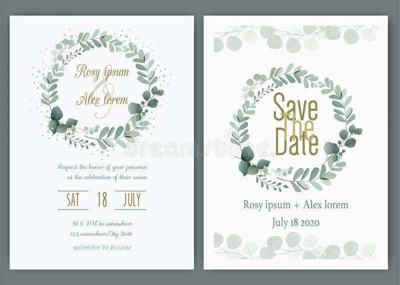 Приглашение свадьбы растительности, приглашение свадьбы эвкалипта шаблона бесплатная иллюстрация