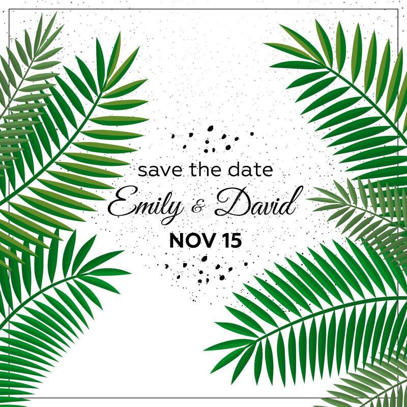 Приглашение свадьбы, современный дизайн карточки: венок зеленой тропической растительности лист ладони декоративный, иллюстрация  иллюстрация вектора