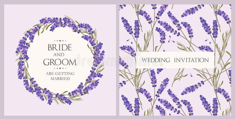 Приглашение свадьбы с лавандой иллюстрация штока