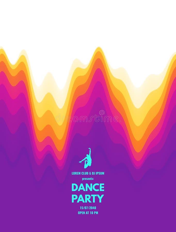 Приглашение танцев с деталями даты и времени Летчик или знамя события музыки волнистая предпосылка 3D с динамическим воздействием иллюстрация вектора