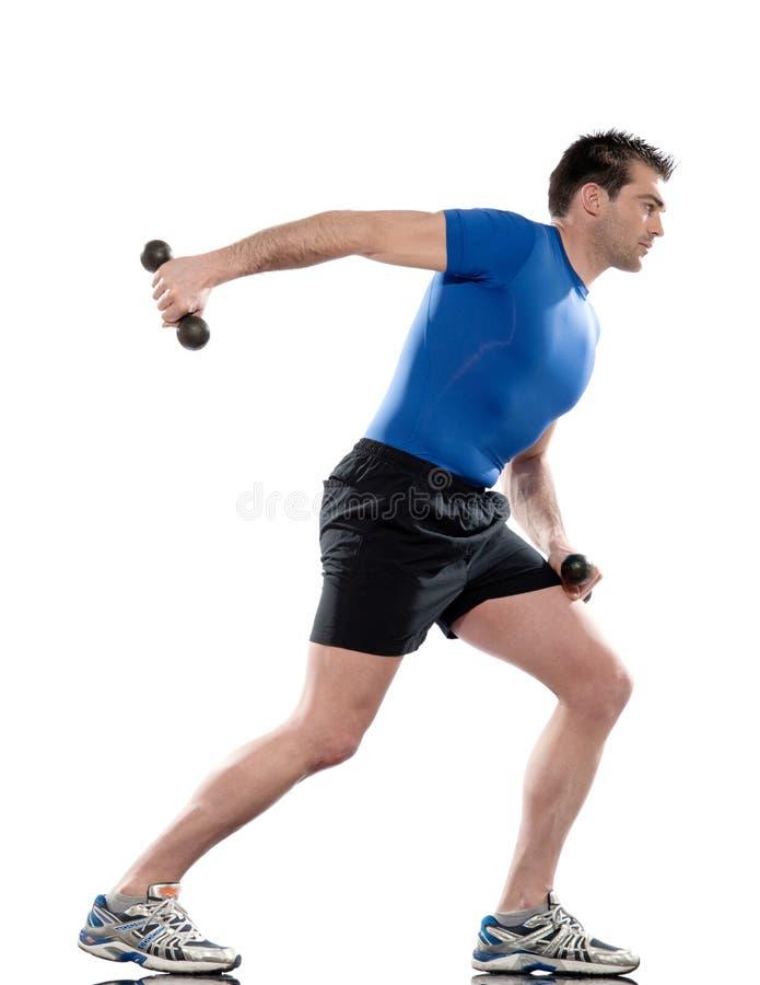 Пригодность разминки тренировки работая веса человека стоковые изображения rf