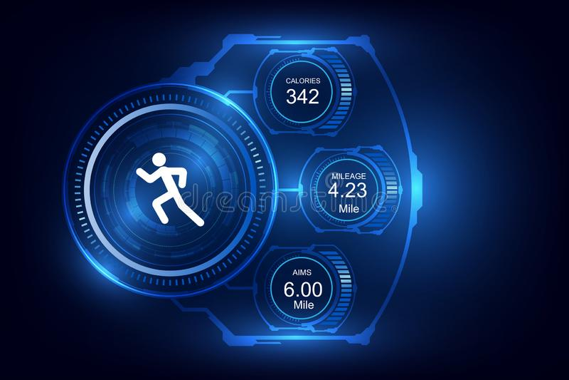 Пригодный для носки отслежыватель фитнеса технологии, контролирует идущую предпосылку иллюстрация вектора
