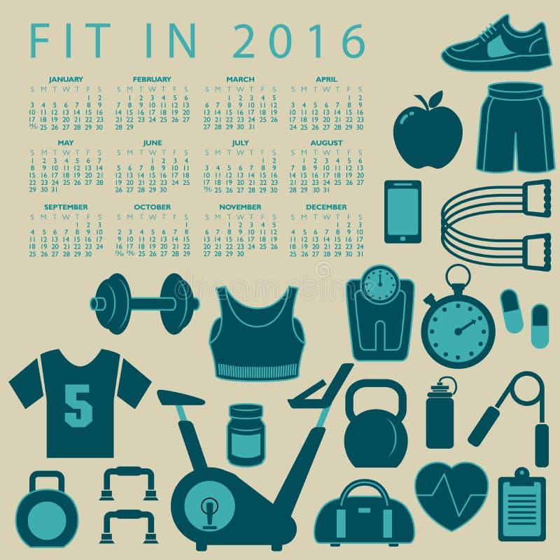 Пригонка в творческом красочном календаре 2016 иллюстрация штока