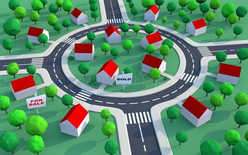пригороды снабжения жилищем имущества иллюстрация штока