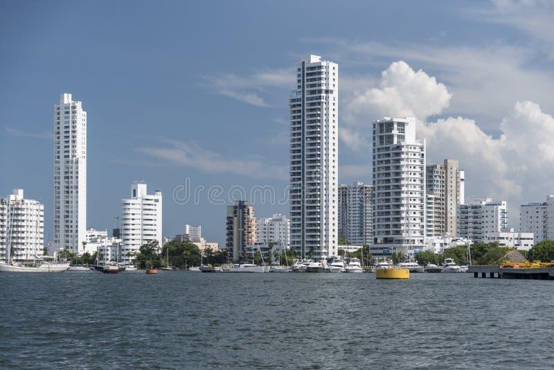 Пригород Cartagena, Колумбии от гавани гавани стоковое изображение rf