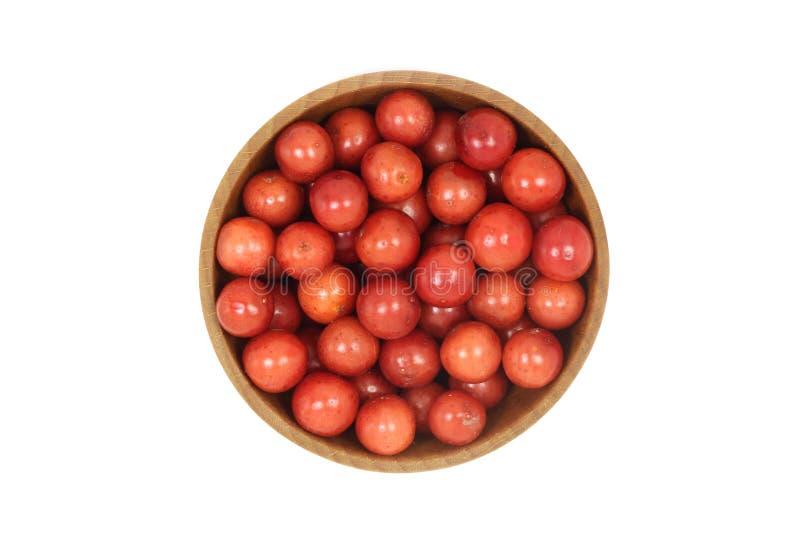 Пригорошня красных ягод калины в деревянном шаре стоковые изображения
