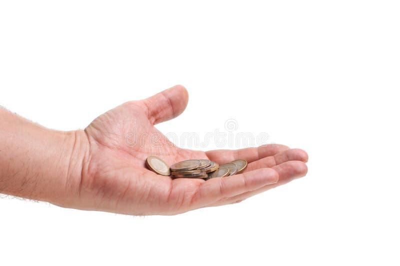 пригорошня руки монеток стоковая фотография rf