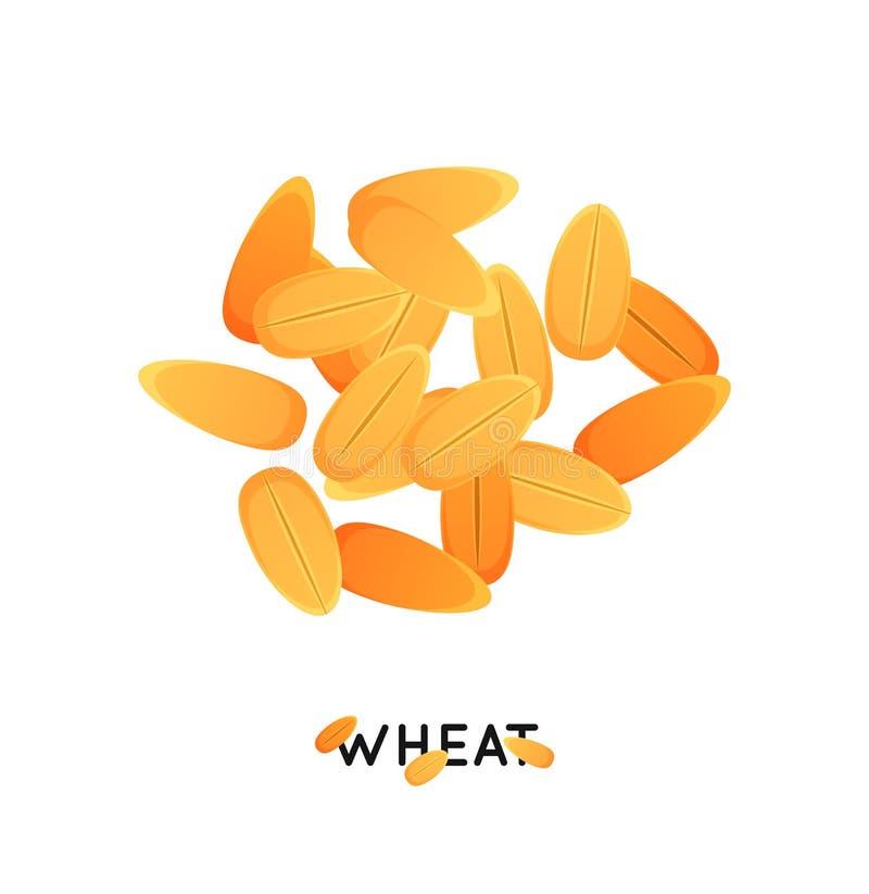 Пригорошня семени пшеницы Агро пшеница культуры осеменяет значок Иллюстрация пшеницы хлопьев иллюстрация штока