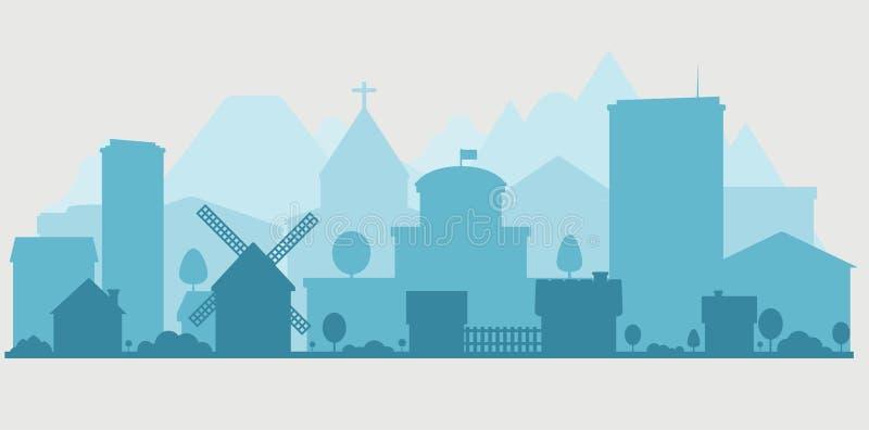 Пригородная и городская панорама бесплатная иллюстрация