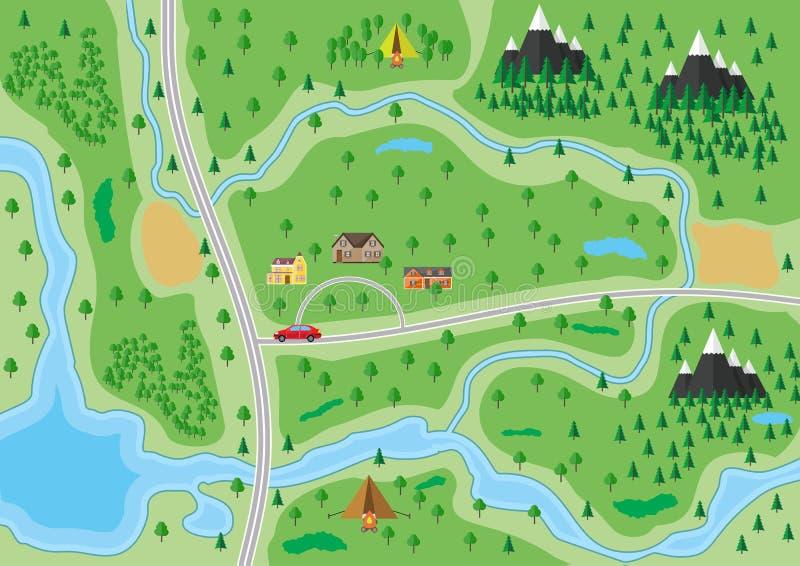 Пригородная карта природы иллюстрация вектора