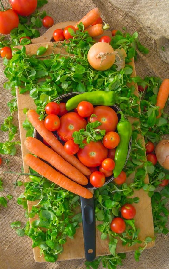 Приготовьте вполне овощей как моркови, томаты, pepperoni, зеленый салат, лук на холсте стоковая фотография