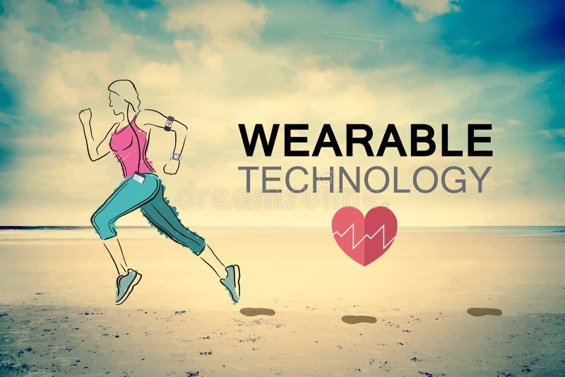 Пригодный для носки вектор технологии с jogging женщиной бесплатная иллюстрация