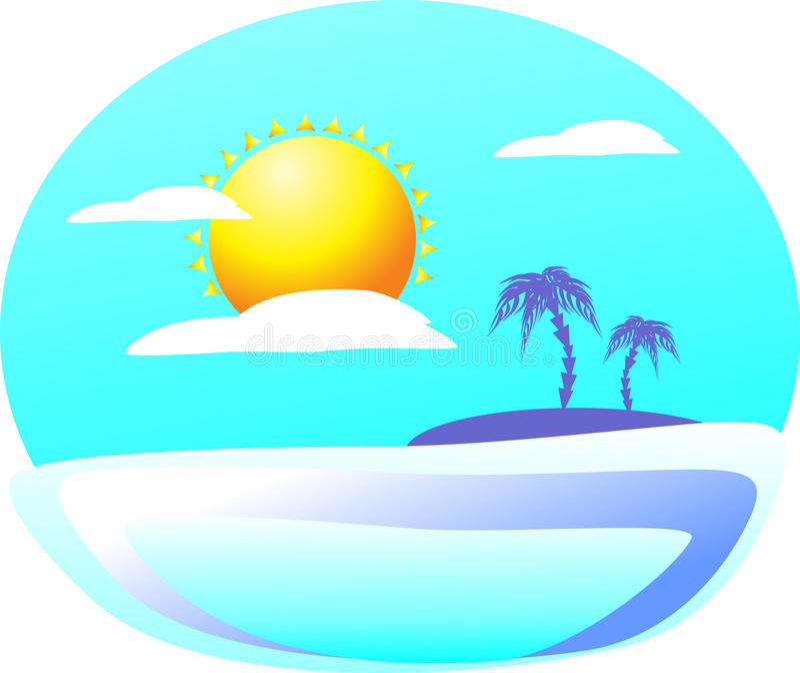 Приглашать загадочное тропическое illumina острова с другой стороны иллюстрация вектора