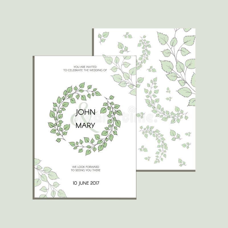 Приглашение вектора с зелеными листьями Современное собрание свадьбы Спасибо карточка, сохраняет карточки даты, меню, знамя стоковое изображение