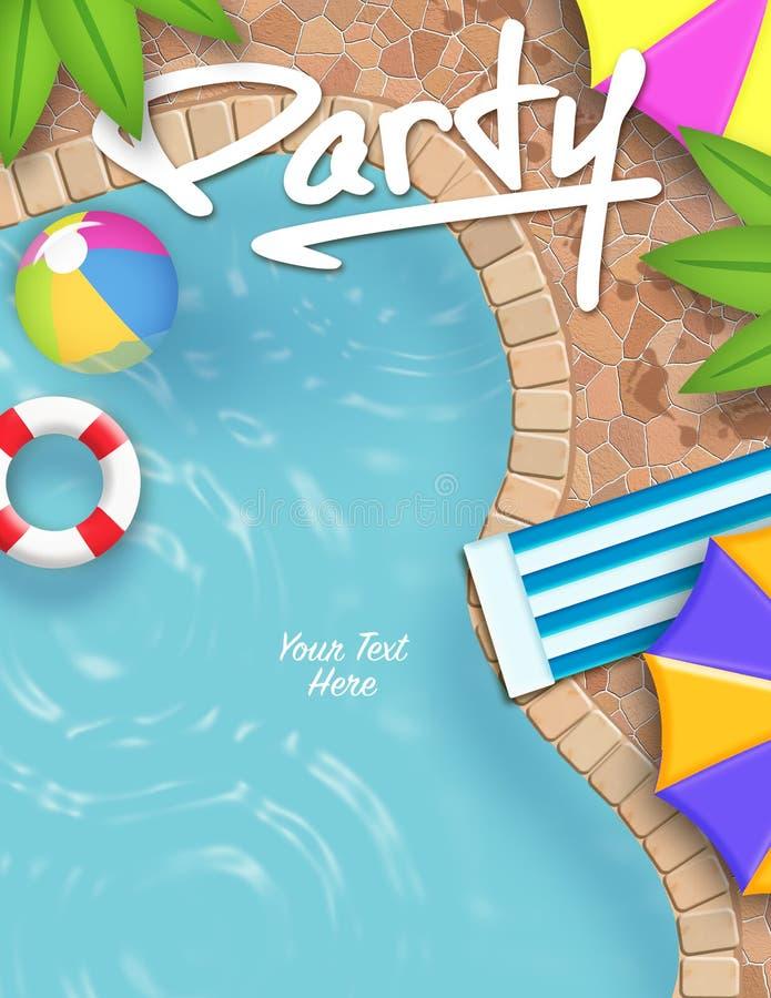 Приглашение вечеринки у бассейна иллюстрация штока