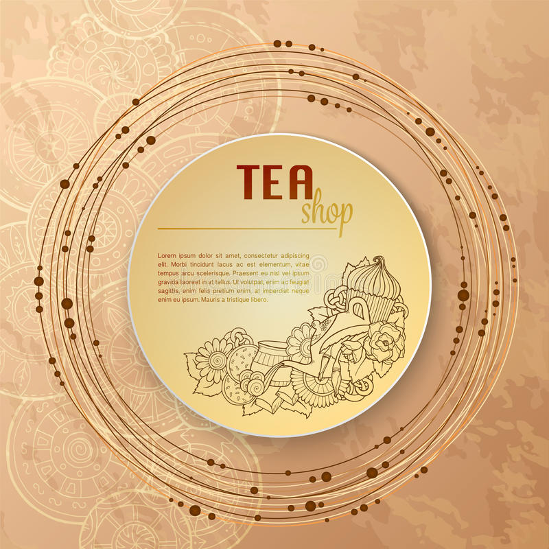 Приглашение картины шаблона doodle чая и цветков карточка 2007 приветствуя счастливое Новый Год Дизайн чая клеймя овощи меню конс иллюстрация штока