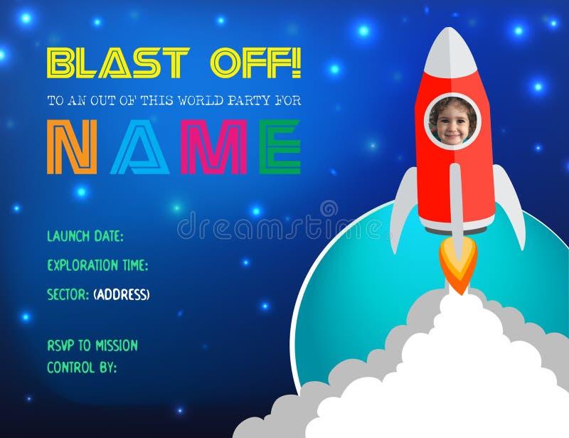 Приглашение карточки вечеринки по случаю дня рождения Ракеты иллюстрации вектора бесплатная иллюстрация