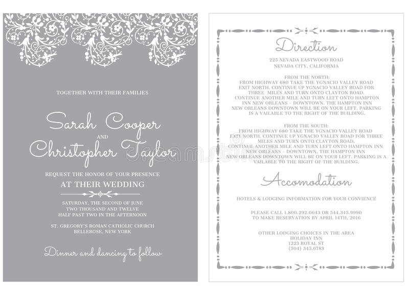 Приглашение карточки приглашения свадьбы с орнаментами иллюстрация штока