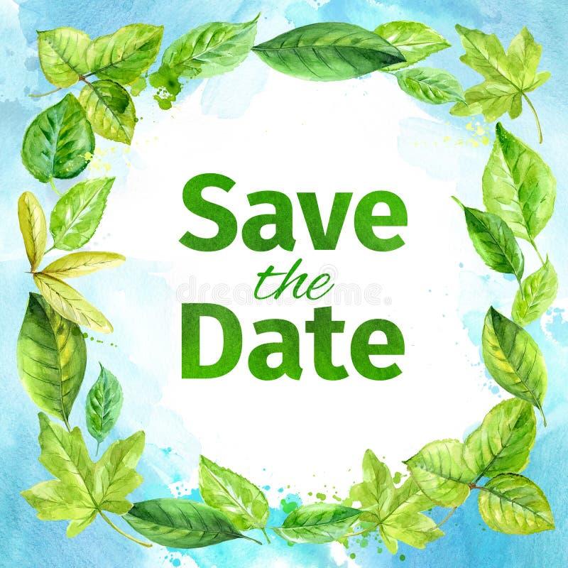 приглашение к венчанию дата сохраняет Рамка листьев весны акварели иллюстрация вектора
