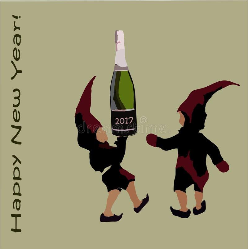 Приглашение к рождественской вечеринке эльфы Санта Клауса с шампанским счастливое Новый Год надписи иллюстрация вектора