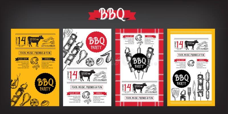 Приглашение партии барбекю Дизайн меню шаблона BBQ Рогулька еды иллюстрация вектора