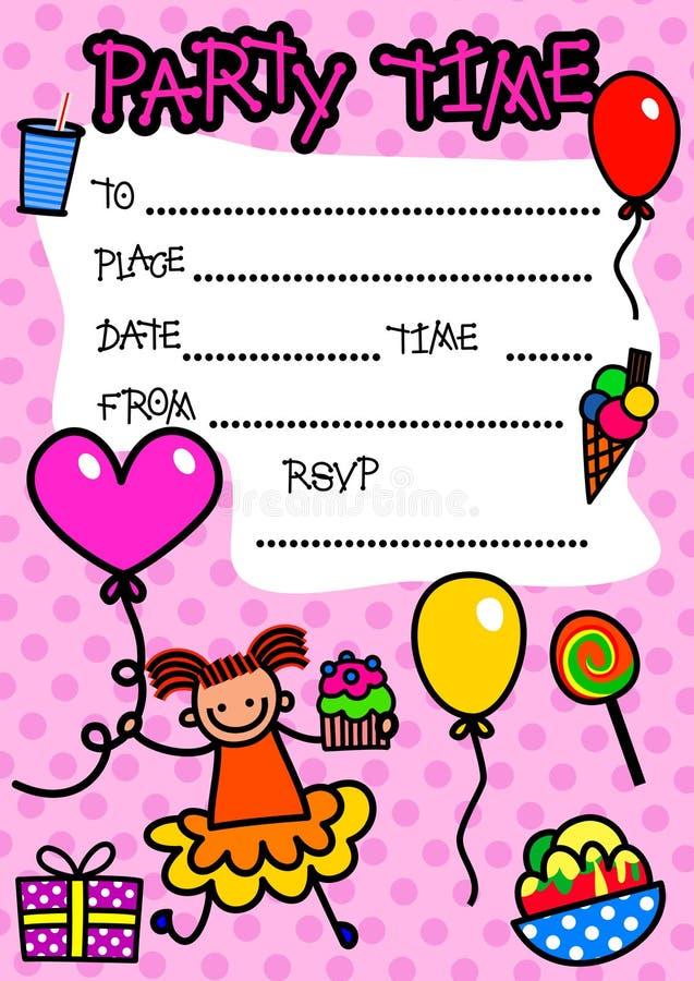Приглашение партии детей иллюстрация штока