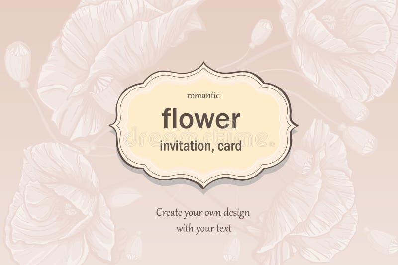 Приглашение, поздравительная открытка в пастельных цветах с маками бесплатная иллюстрация