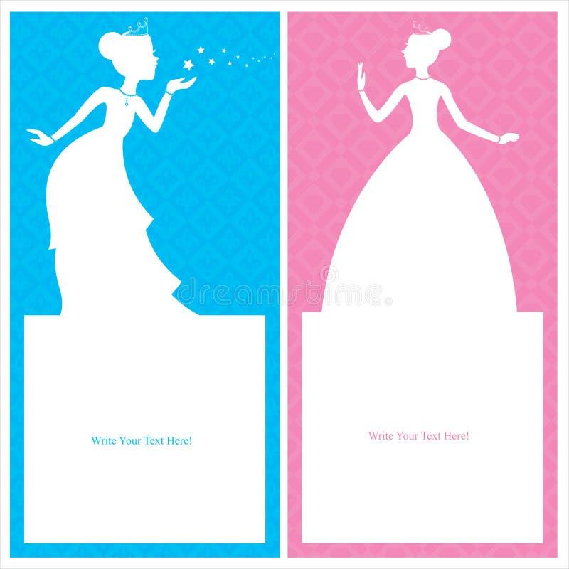 Приглашение поздравительой открытки ко дню рождения принцессы иллюстрация вектора