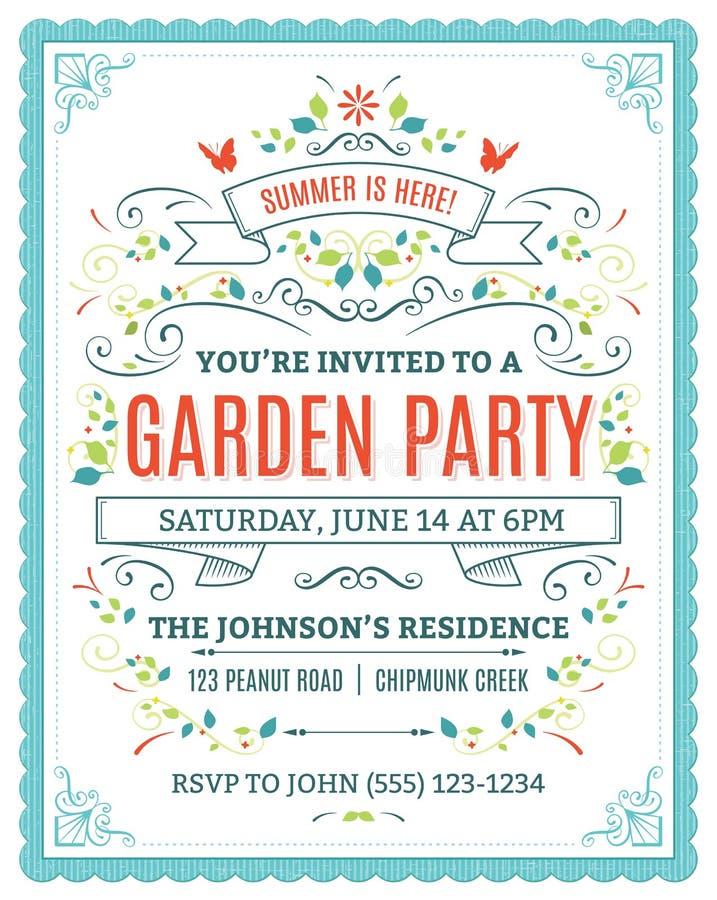 Приглашение приём гостей в саду иллюстрация вектора