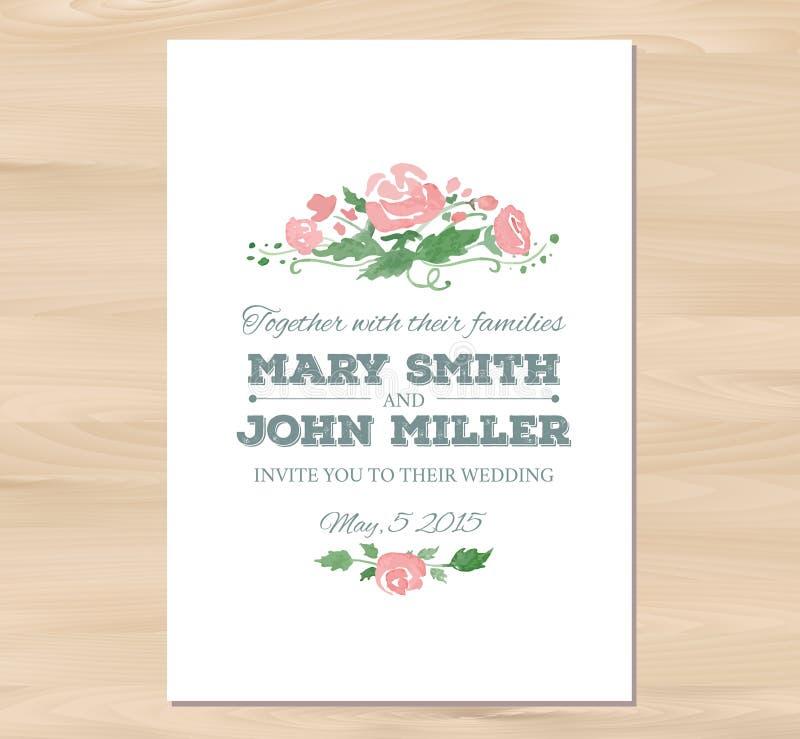Приглашение свадьбы вектора с цветками акварели иллюстрация вектора