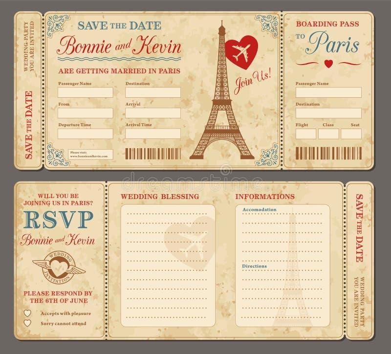 Приглашение свадьбы Парижа иллюстрация вектора