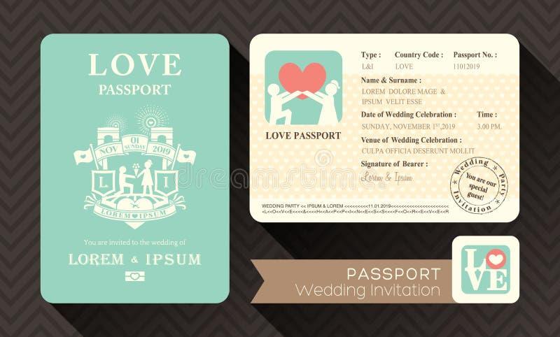 Приглашение свадьбы пасспорта иллюстрация штока