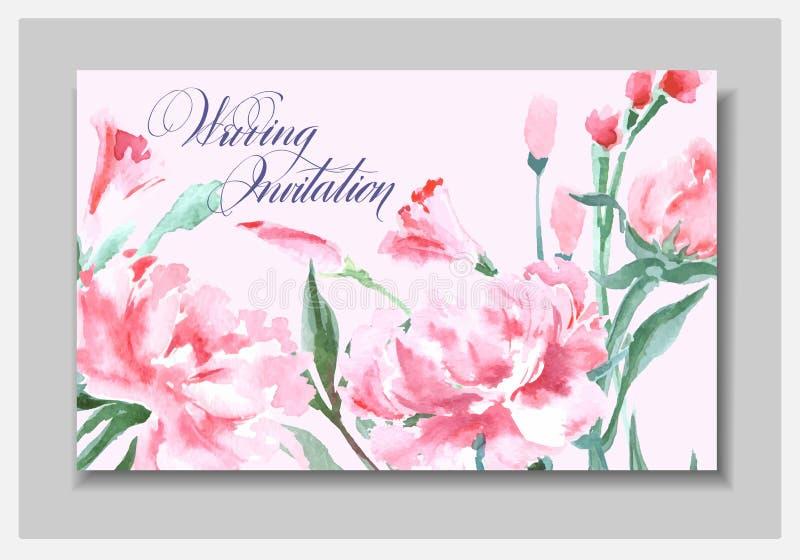 Приглашение свадьбы с пионами акварели Прочешите польза для посадочного талона, приглашений, спасибо карточки вектор иллюстрация вектора