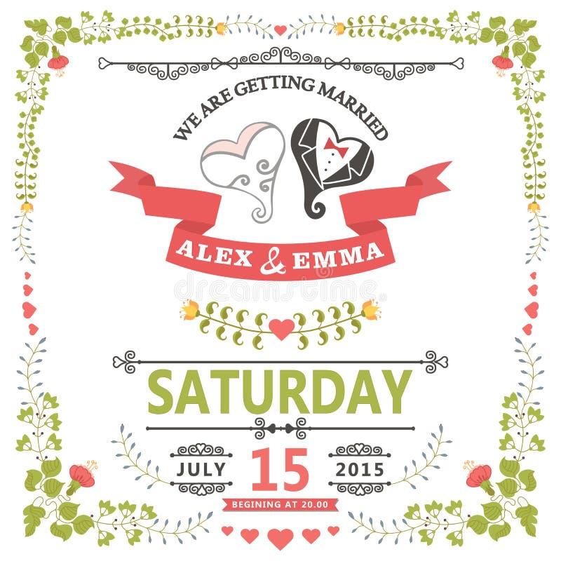 Приглашение свадьбы с стилизованным сердцем и флористической рамкой иллюстрация штока