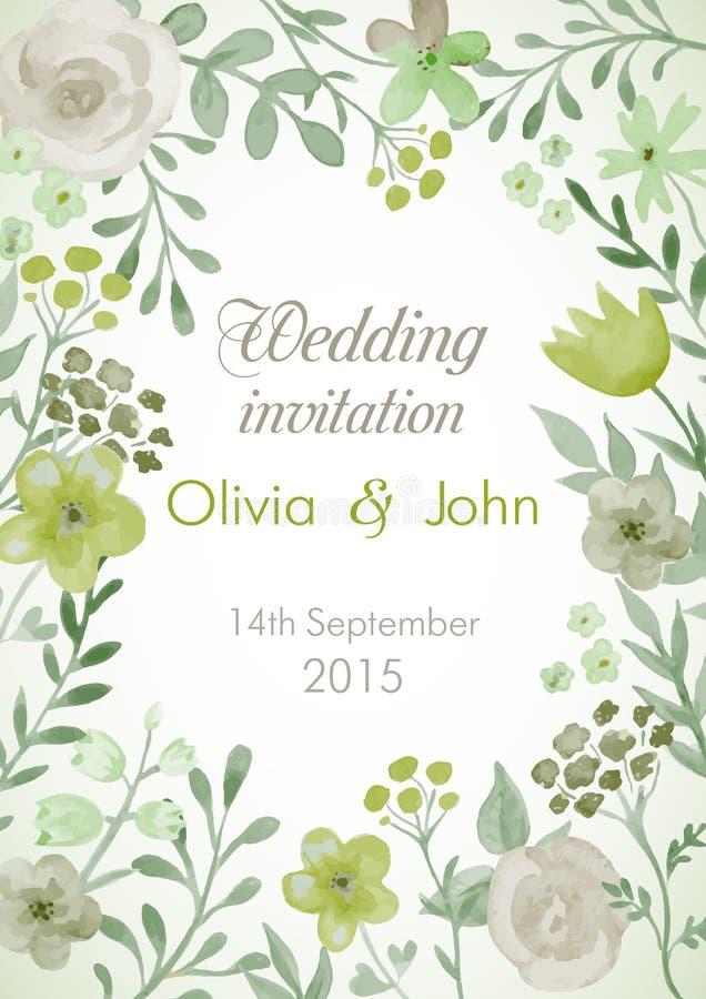 Приглашение свадьбы с цветками и листьями бесплатная иллюстрация