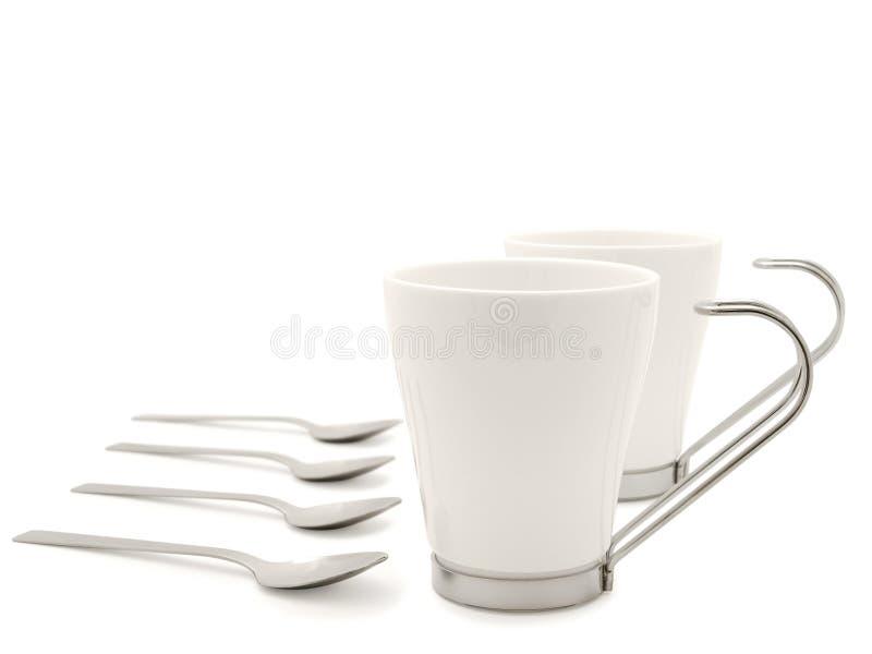 придает форму чашки самомоднейшие ложки белые стоковое фото
