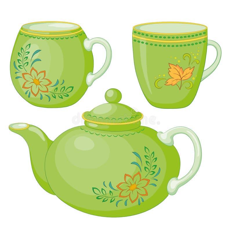 придает форму чашки чайник иллюстрация штока