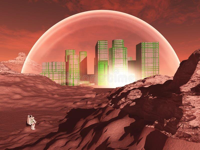 Приданный куполообразную форму город на негостеприимной планете иллюстрация штока