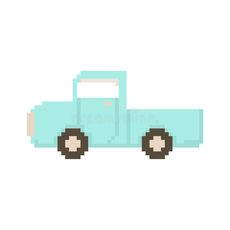 Приемистость изолированная на белой предпосылке Деревня автомобиля Графики для игр иллюстрация вектора 8 битов в стиле искусства  бесплатная иллюстрация